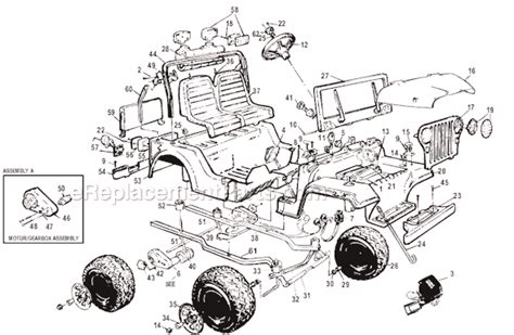 Power Wheels Jeep Parts Power Wheels 76817 9993 Parts List And Diagram