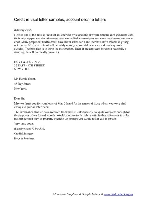 Refusal Letter Of Credit refusal letter templates sles and templates