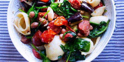 winter pasta salad easy peasy pasta salad with aubergine and chorizo a warming winter salad recipe