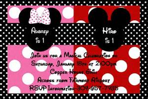 minnie and mickey mouse birthday invitation for or siblings