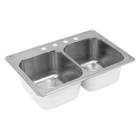 sink bowls for kitchen elkay neptune drop in stainless steel 33 in 4 hole double