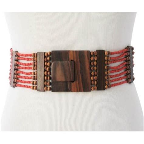 beaded s belt coral with wood dividers and wood