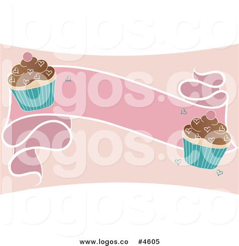 royalty free blank pink banner with cupcakes logo by pams