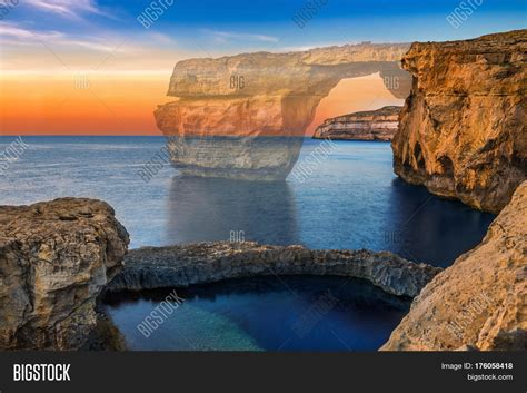 azure window before and after gozo malta beautiful azure window image photo bigstock