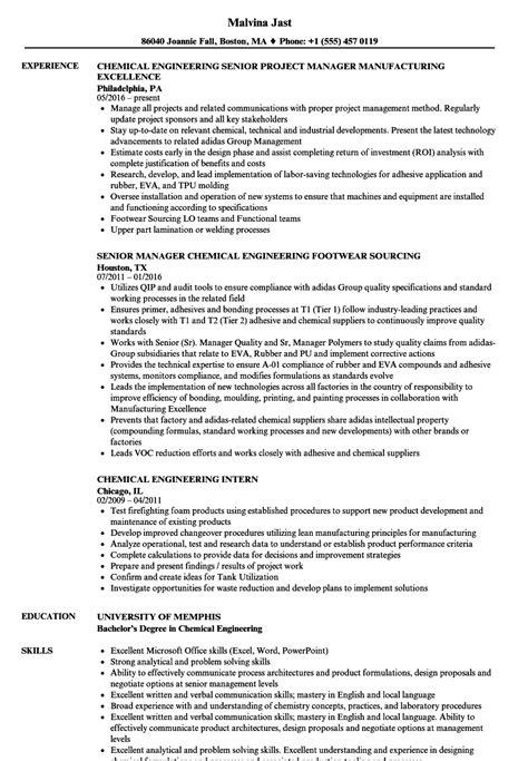 resume format for chemical engineer chemical engineering resume sles velvet