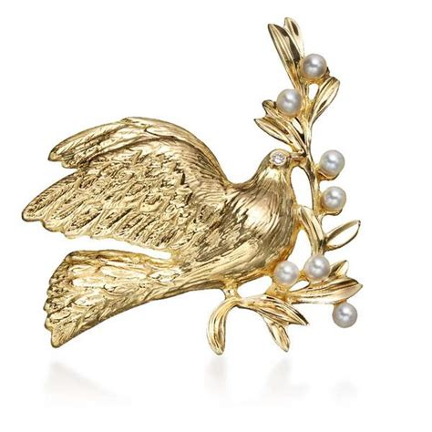 Dove Gold Lapel Pin Brooch Deux partners in peace dove pin