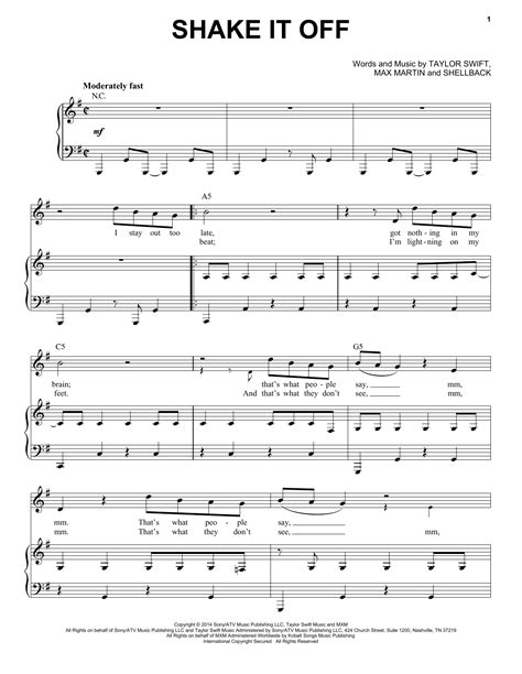 printable lyrics shake it off shake it off sheet music by taylor swift piano vocal
