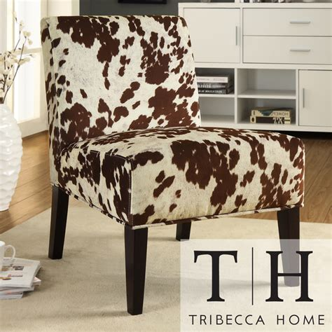 tribecca home decor cowhide fabric chair contemporary