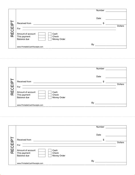 free printable rent receipt template 5 blank receipt form printable receipt