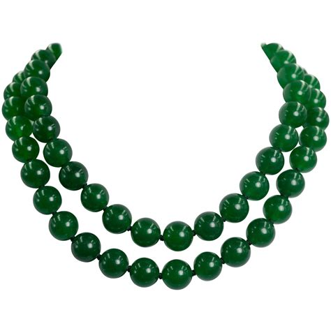 jade bead necklace two strand faux imperial jade bead necklace at 1stdibs