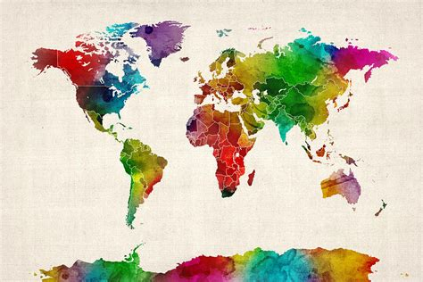 watercolor map   world map digital art  michael