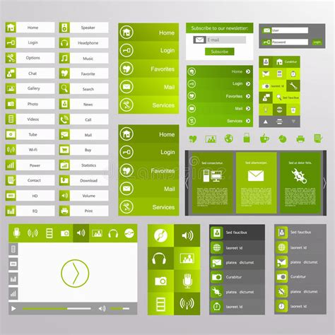 Green Web Design Elements Buttons Icons Templates For Website Stock Vector Illustration Navigation Bar Templates