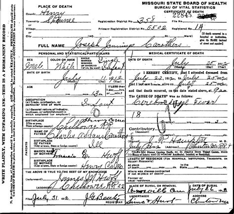 Missouri Birth Certificate Records Carothers Genealogy Missouri Certificates