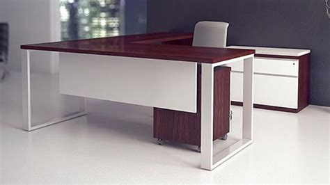 modern desks modern at two l shaped desk pedestal credenza
