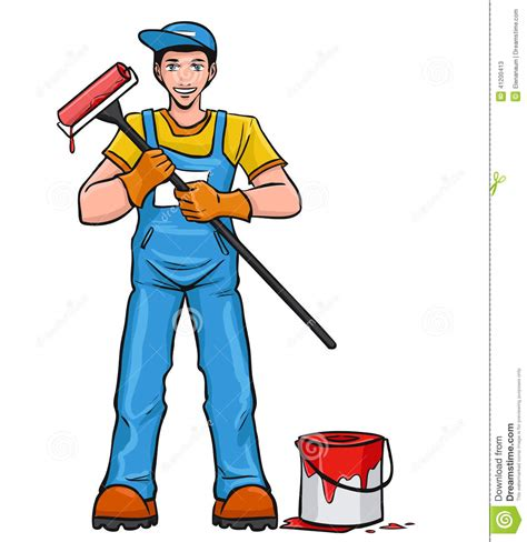 paint man man with paint roller stock vector image 41200413