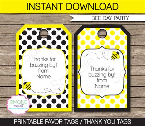 thank you favor tags template bee favor tags template thank you tags