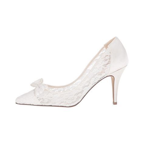 Bridal Shoes With Bow by White Bridal Shoes Lace Heels Pointy Toe Pumps With Bow