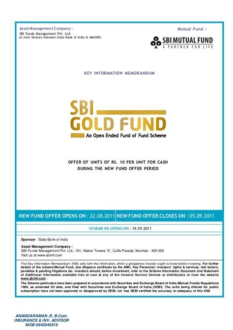Sbi Bank Letterhead Sbi Gold Fund Nfo Application Form With Kyc Form