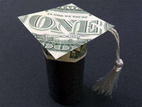 Origami Mortar Board - money origami graduation cap mortar board dollar bill