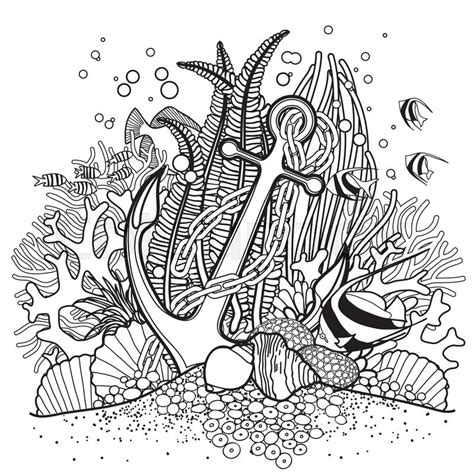 ocean background coloring page anchor and coral reef drawn in line art style ocean fish