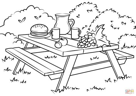 picnic coloring pages picnic table coloring page free printable coloring pages
