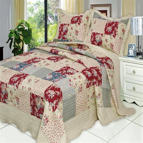 Luxury Patchwork Quilts - country floral patchwork quilt coverlet set