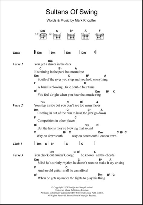 Sultans Of Swing Chords by Sultans Of Swing Guitar Chords Lyrics Zzounds