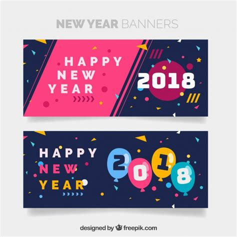 free vector new year banner happy new year 2018 banners vector free