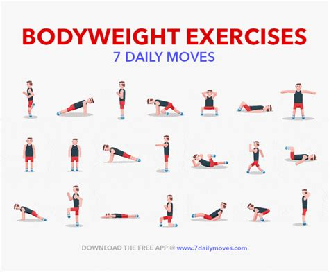 quick and simple bodyweight workout routine for beginners here are 7 bodyweight exercises that will help you meet