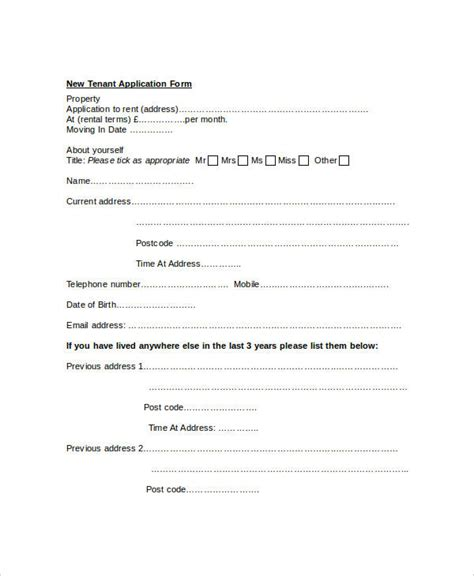 free tenant application form template tenant application form 9 free word pdf documents