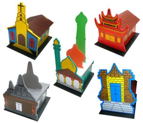 maket rumah ibadah 3d set mainan kayu