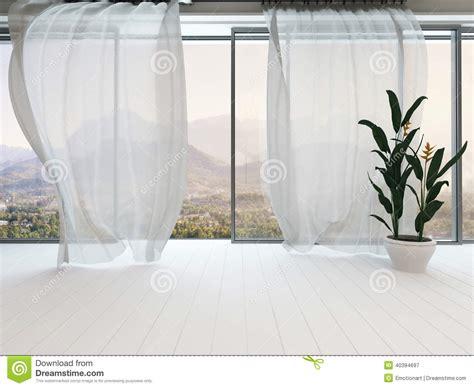 fenster vorhang leerer reinrauminnenraum mit fenster und vorhang stock