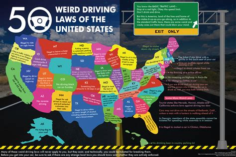 driving maps of the united states 50 driving laws of the united states infographic