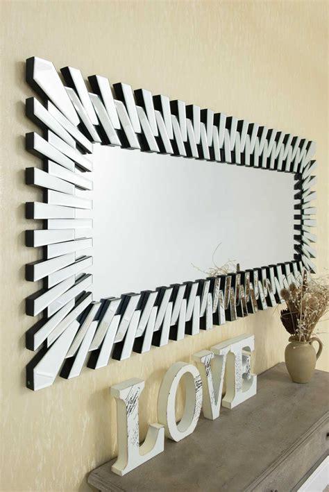 Modern Rectangular Wall Mirror by Large Modern Unique 3d Sunburst All Glass Venetian