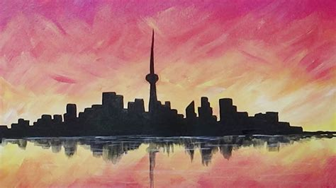 watercolor tutorial city acrylic painting city skyline sunset silhouette painting