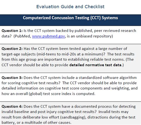 evaluating computerized concussion testing systems