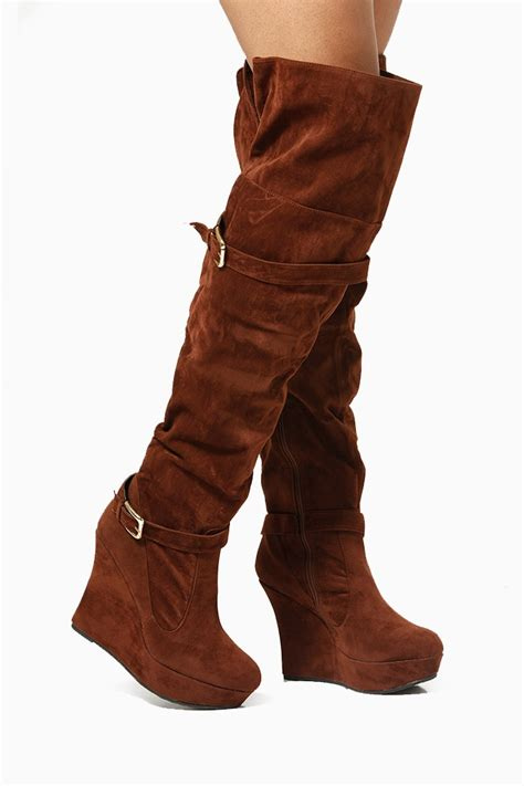 bamboo thigh high velvet wedge boots cicihot boots