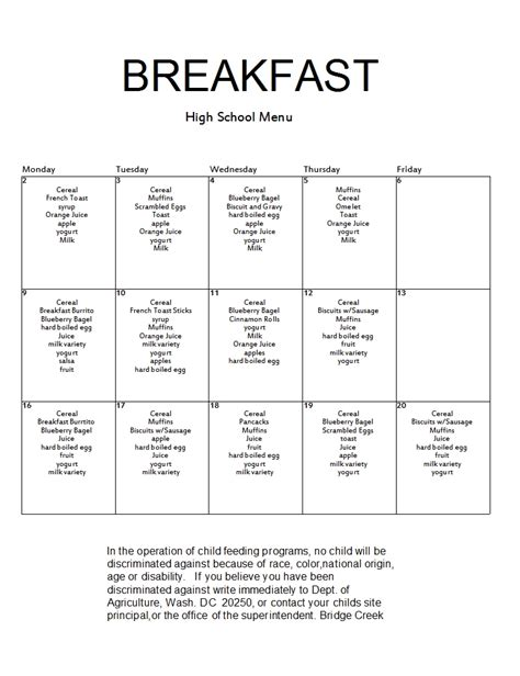 breakfast order form template index of calendar images