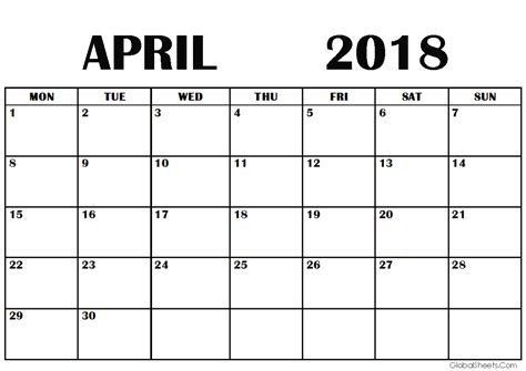 printable calendar 2018 a4 size april 2018 calendar a4 size printable
