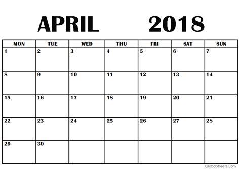printable calendar 2018 a4 size april 2018 calendar a4 size printable
