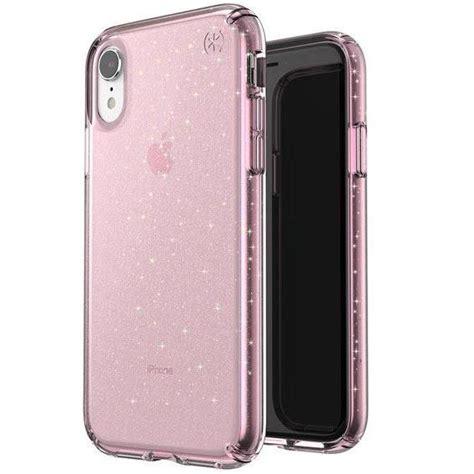iphone xr speck presidio clear glitter impactium case bella pink gold