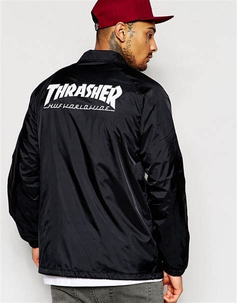 Jaket Bomber Trasher huf huf x thrasher coach jacket with back print