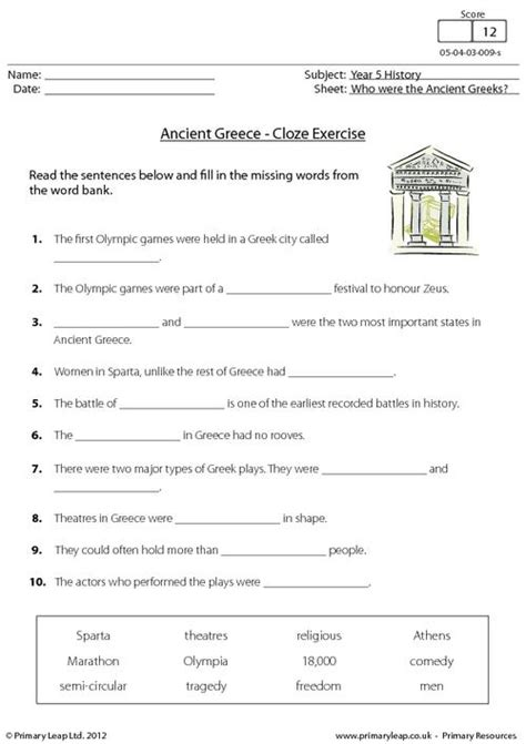 ancient worksheets primaryleap co uk ancient greece cloze activity worksheet school ancient