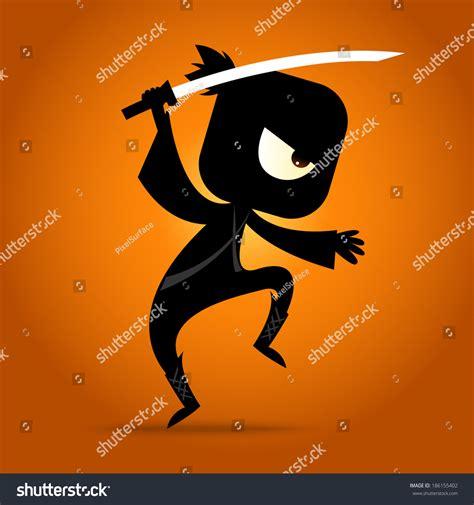 vector ninja tutorial japanese ninja figure action stock vector 186155402
