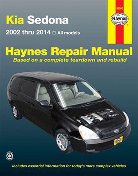 car manuals free online 2007 kia sedona parking system kia sedona haynes repair manual 2002 2014 hay54060