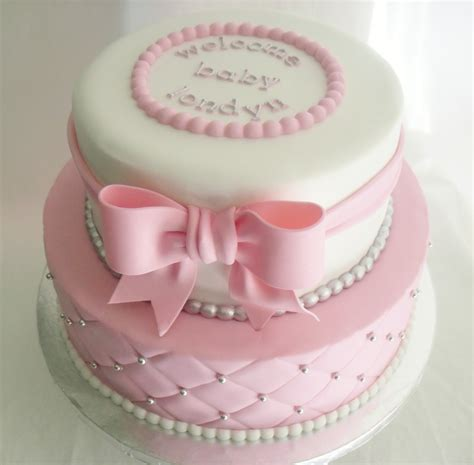 made fresh daily quilted pink and white baby shower cake - Pink Cakes For Baby Showers