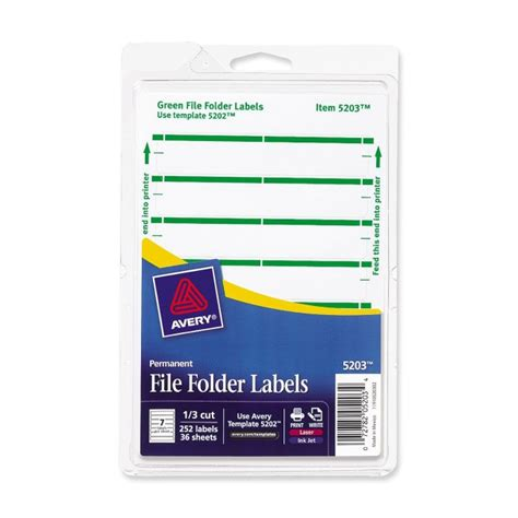 file folder labels template print or write file folder label avery dennison 05203