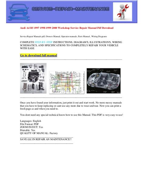how to download repair manuals 1997 audi a4 user handbook audi a4 b5 1997 1998 1999 2000 electrical wiring diagram pdf download