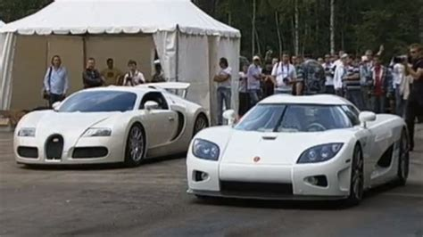 Which Is Faster Bugatti Or Koenigsegg Bugatti Veyron Vs Koenigsegg Ccxr In White Drag Race