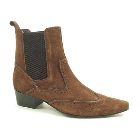 find brown suede heeled beatle boots for gucinari